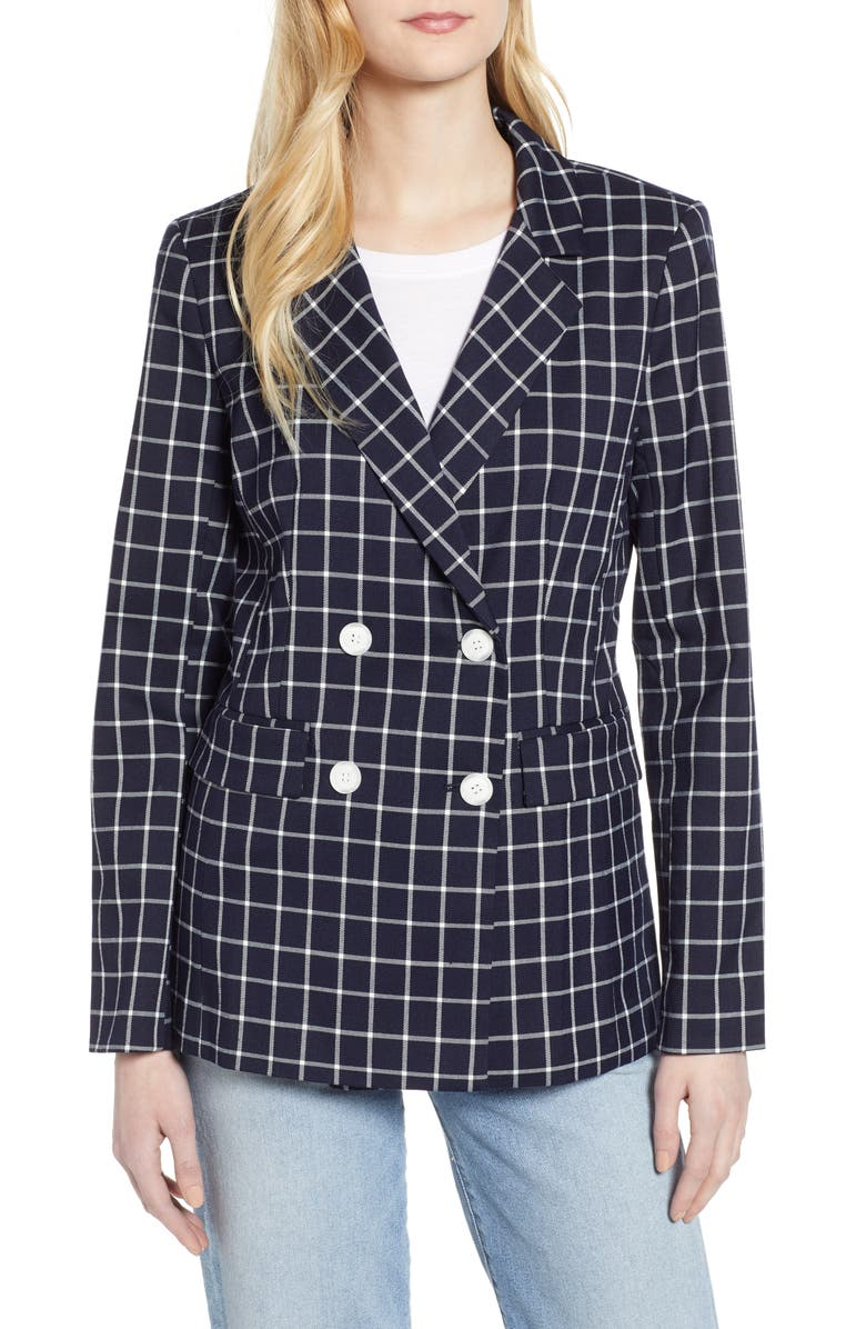 HALOGEN<SUP>®</SUP> Double Breasted Check Blazer, Main, color, 410