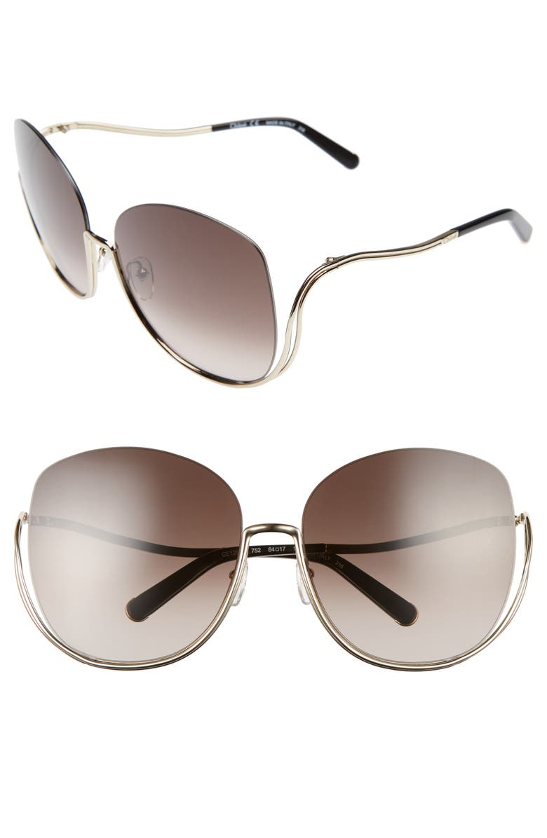 CHLOÉ Milla 64mm Oversize Sunglasses, Main, color, 710