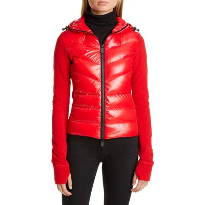 Moncler Quilted Down Front Hooded Fleece Jacket, Red