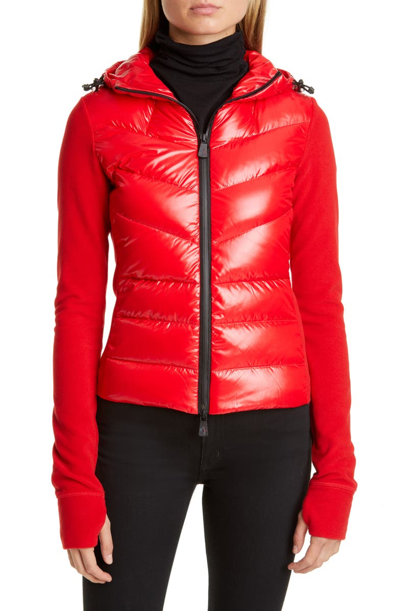 MONCLER Quilted Down Front Hooded Fleece Jacket, Main, color, RED