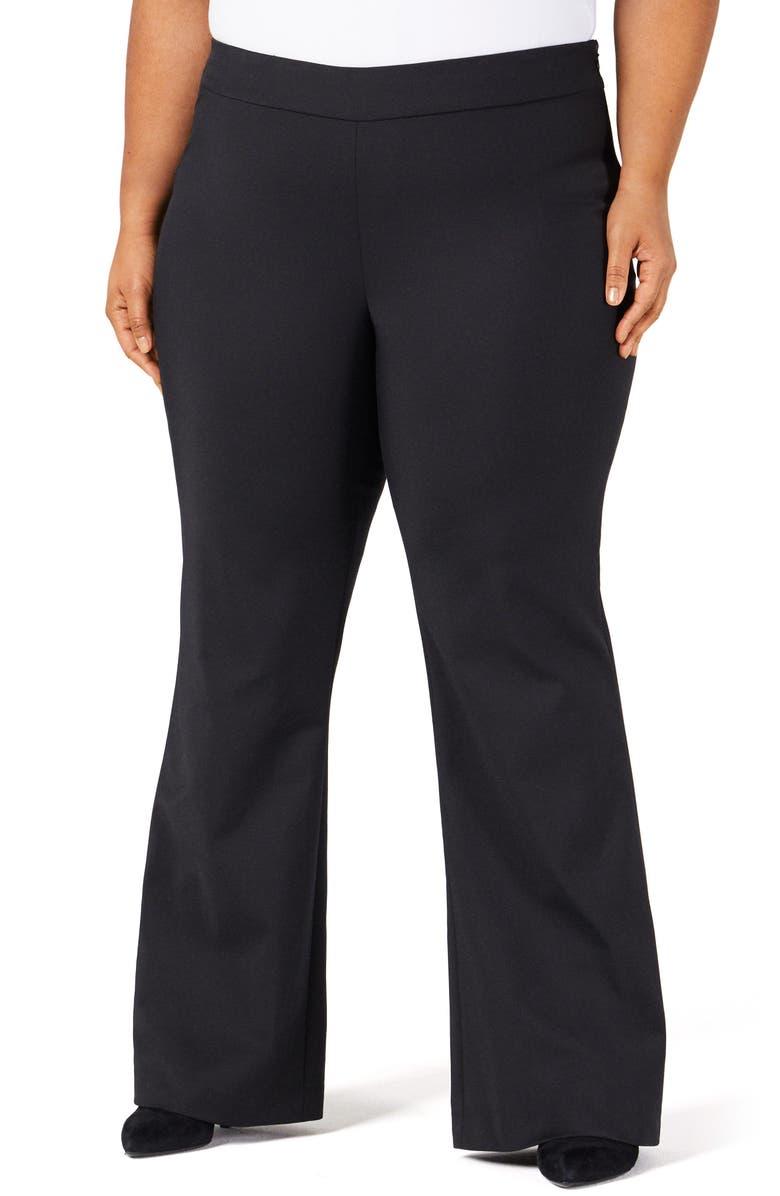 PARI PASSU Sateen Flare Pants, Main, color, BLACK