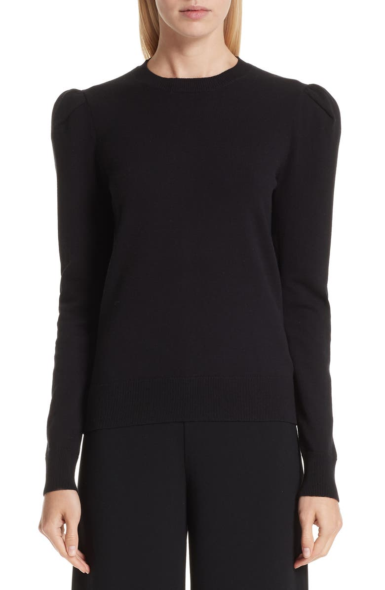 CO Puff Shoulder Sweater, Main, color, BLACK