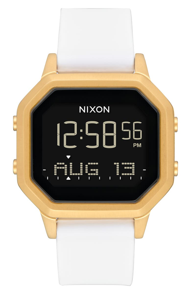 NIXON Siren Digital Watch, 36mm, Main, color, WHITE/ BLACK/ GOLD