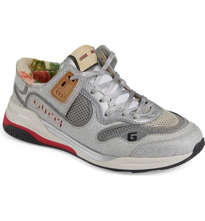 GUCCI Ultrapace Glitter Sneaker, Main, color, SILVER