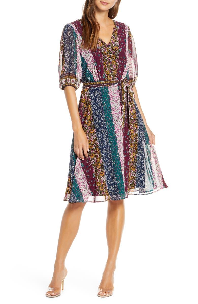 MAISON TARA Stripe Paisley Chiffon Faux Wrap Dress, Main, color, STONE/ NAVY/ FUCHSIA