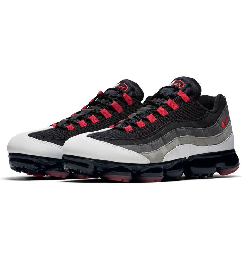NIKE Air VaporMax 95 Sneaker, Main, color, WHITE/ RED/ PEWTER/ GRANITE