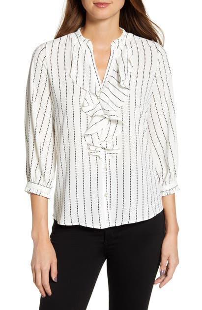 Karl Lagerfeld Tops PRINTED RUFFLE FRONT BLOUSE
