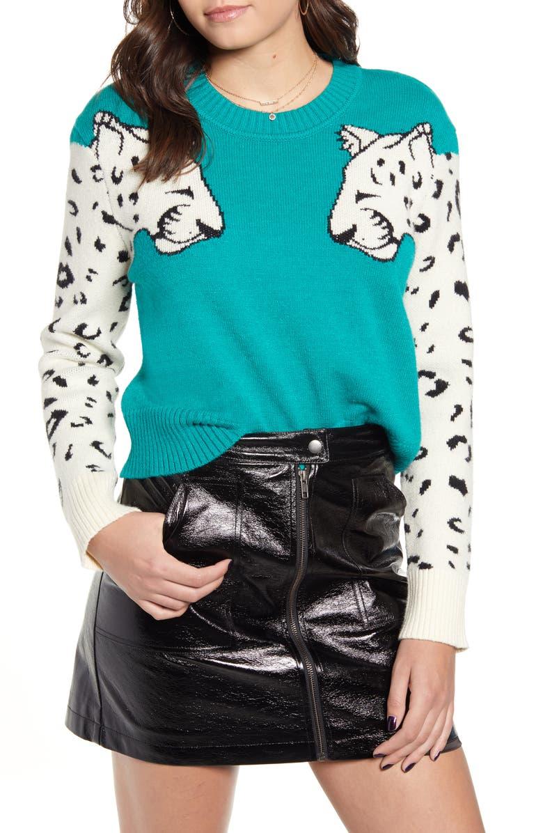 MINKPINK Snow Leopard Intarsia Sweater, Main, color, 300