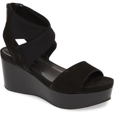 Pelle Moda Lilo Platform Wedge Sandal, Black