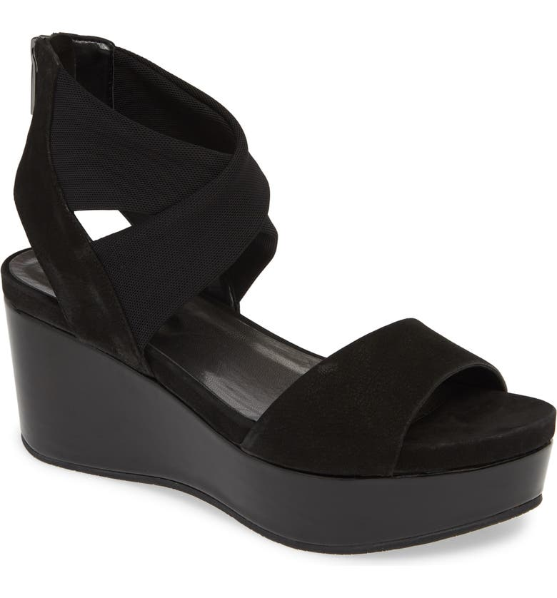 PELLE MODA Lilo Platform Wedge Sandal, Main, color, BLACK NUBUCK