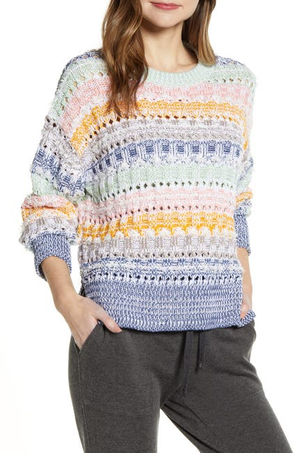 Image of LOU & GREY Fringe Stripe Crewneck Sweater