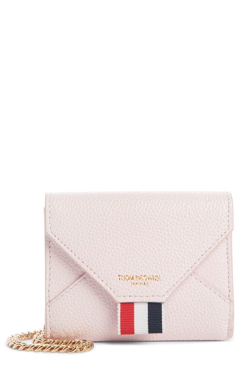 THOM BROWNE Leather Envelope Card Case, Main, color, LIGHT PINK