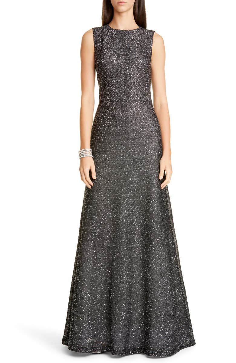 ST. JOHN EVENING Embellished Netting Knit Trumpet Gown, Main, color, CAVIAR