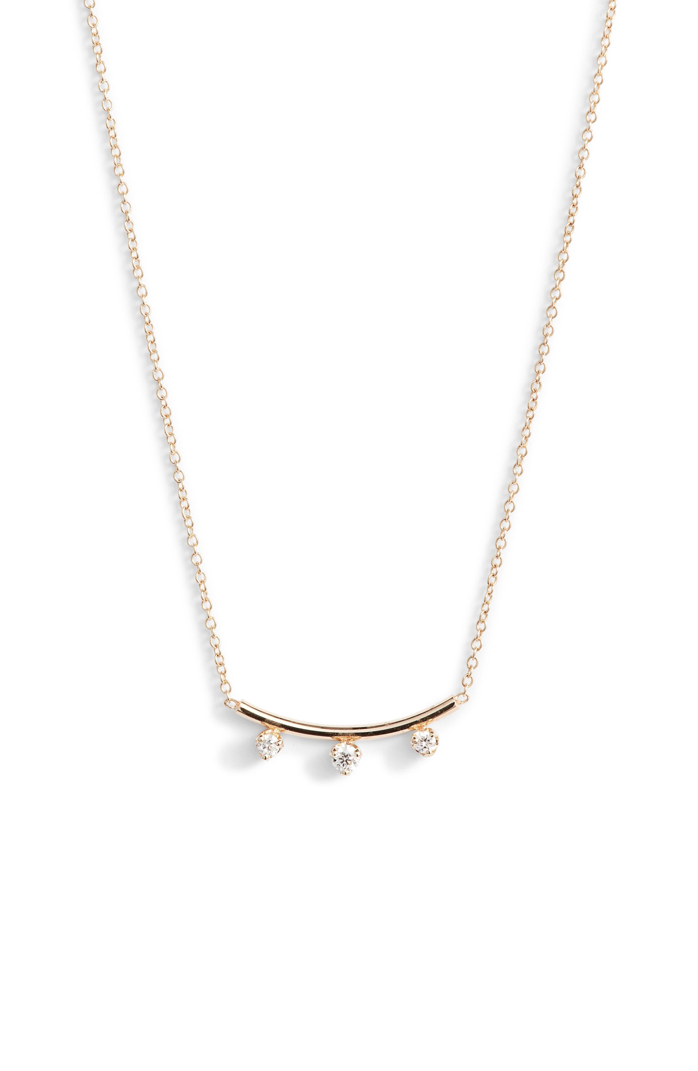 Zoe Chicco Three-Diamond Curved Bar Necklace