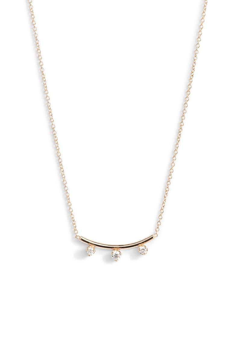 ZOË CHICCO Three-Diamond Curved Bar Necklace, Main, color, GOLD/ DIAMOND