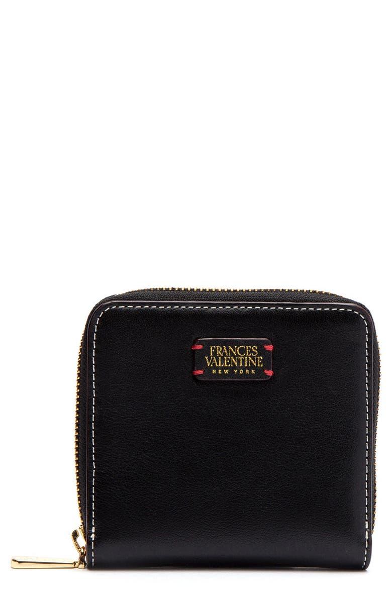 FRANCES VALENTINE Roosevelt Small Calfskin Leather Wallet, Main, color, 001