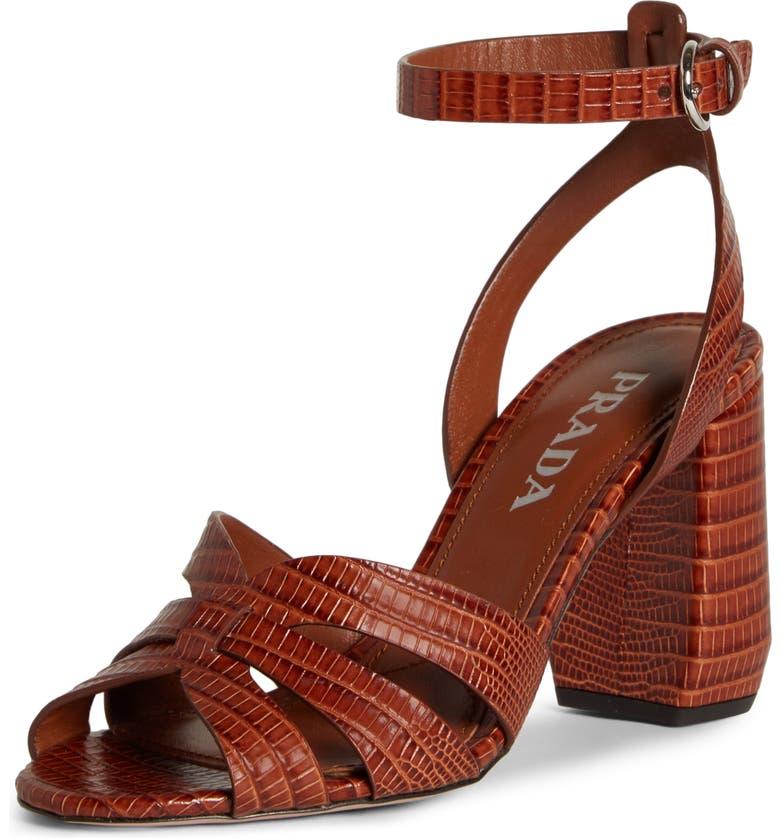 PRADA Lizard Embossed Ankle Strap Sandal, Main, color, COGNAC TEJUS