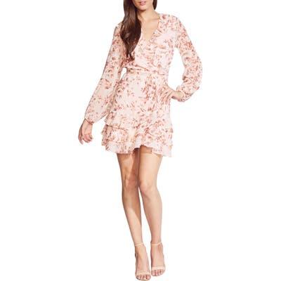 Bardot Triple Frill Long Sleeve Chiffon Minidress, Pink