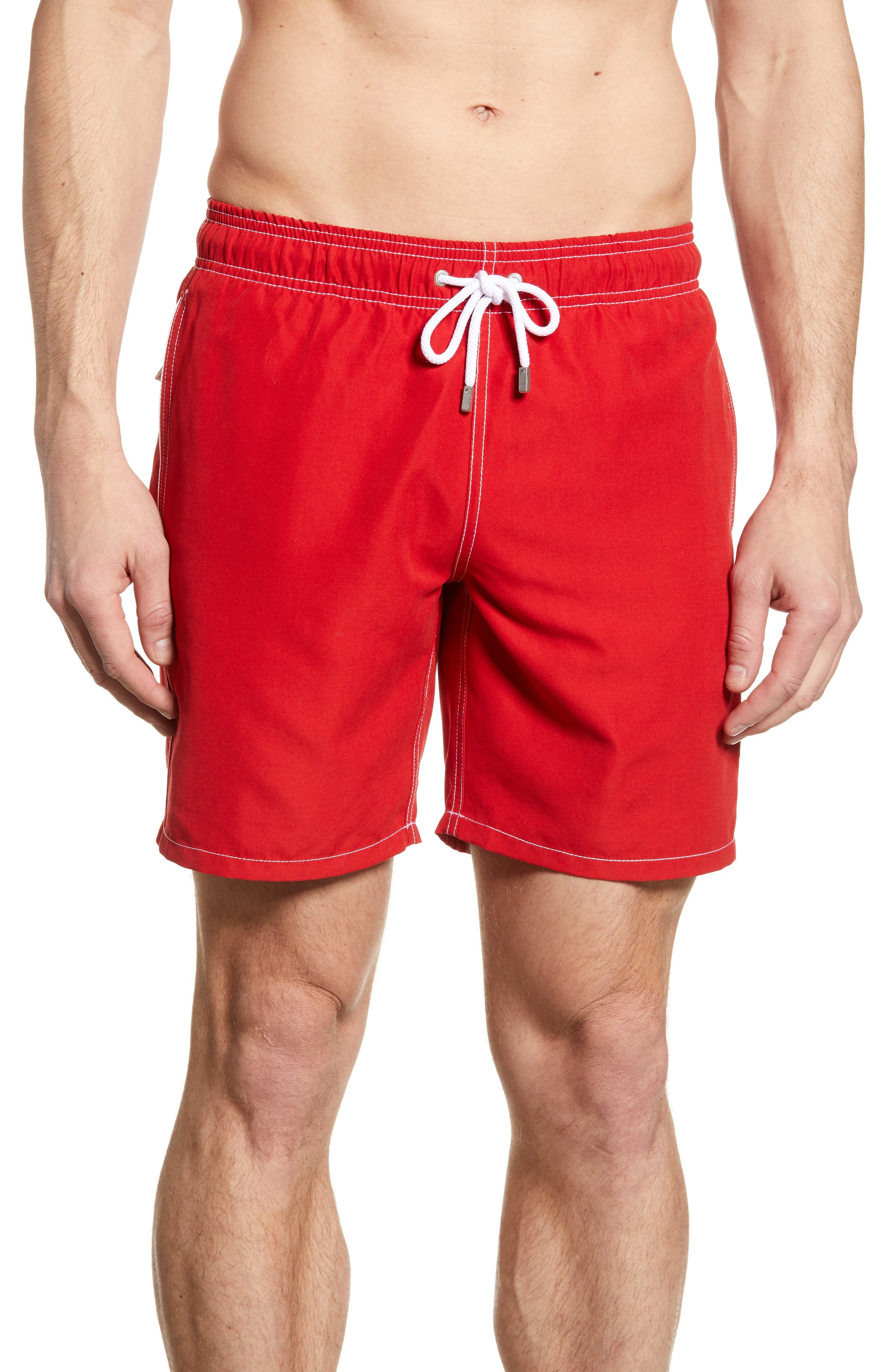 Bugatchi Solid Swim Trunks, Red