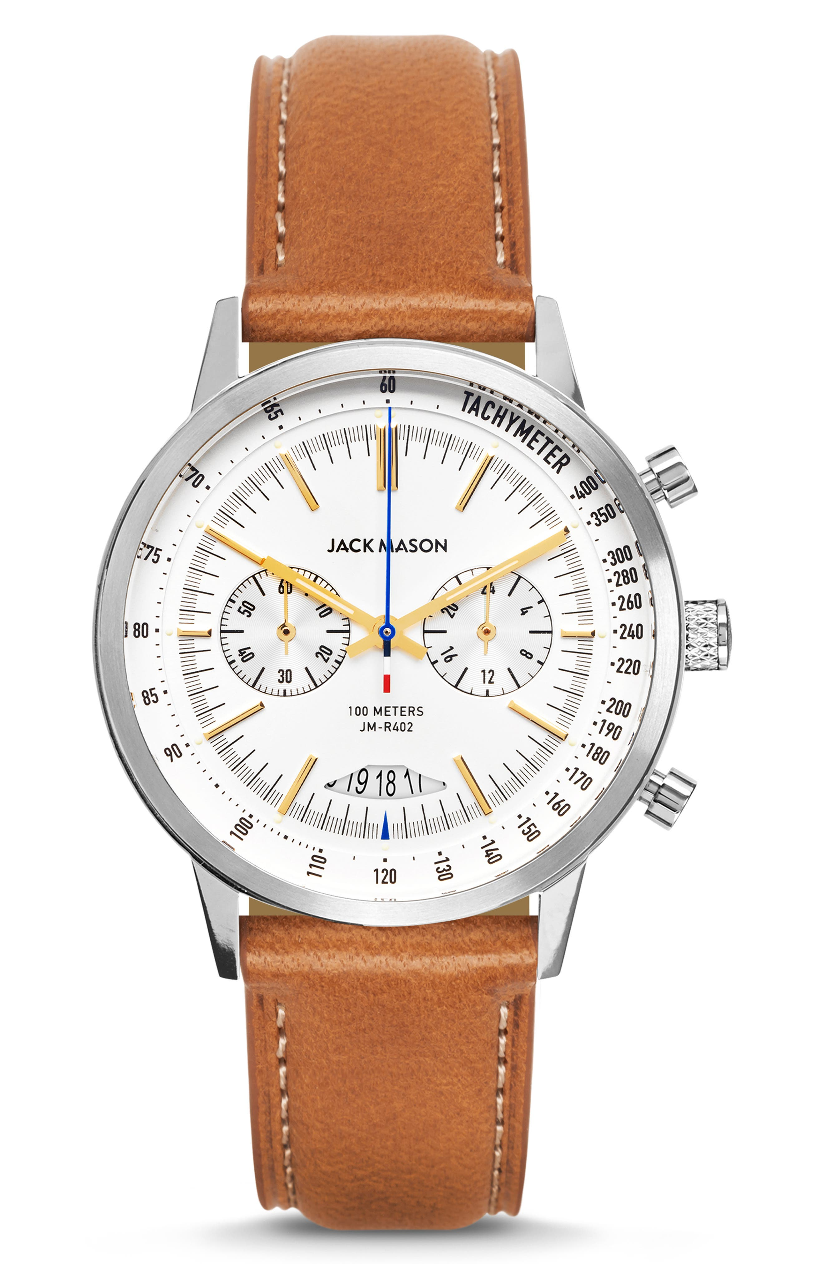 Racing Chronograph Leather Strap Watch, 40mm, Main, color, WHITE/ BROWN