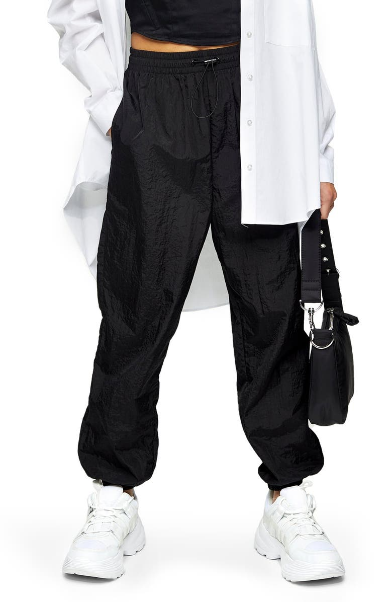 TOPSHOP Nylon Jogger Pants, Main, color, BLACK