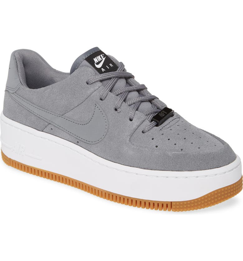 NIKE Air Force 1 Sage Low Platform Sneaker, Main, color, COOL GREY/ BLACK/ WHITE