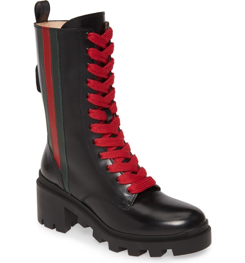GUCCI Trip Combat Boot, Main, color, BLACK