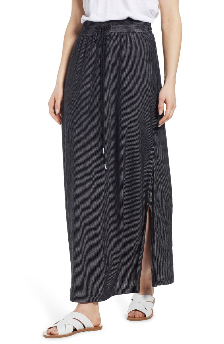 CASLON<SUP>®</SUP> Stripe Knit Maxi Skirt, Main, color, 001