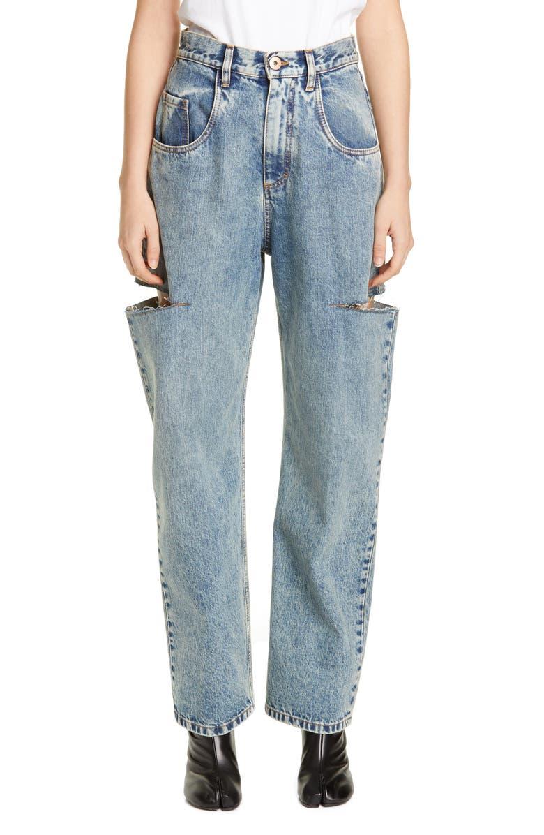 MAISON MARGIELA Side Slit Wide Leg Jeans, Main, color, BLU DENIM USED
