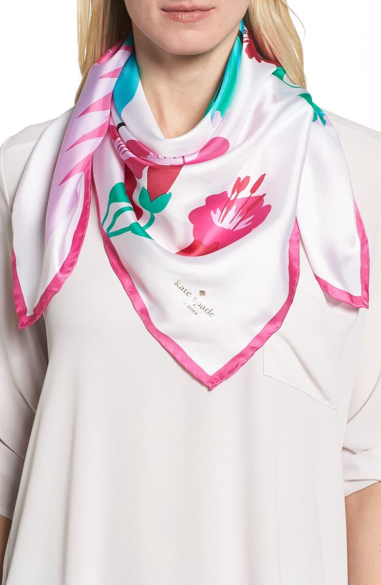 KATE SPADE NEW YORK hummingbird silk square scarf, Main, color, 900
