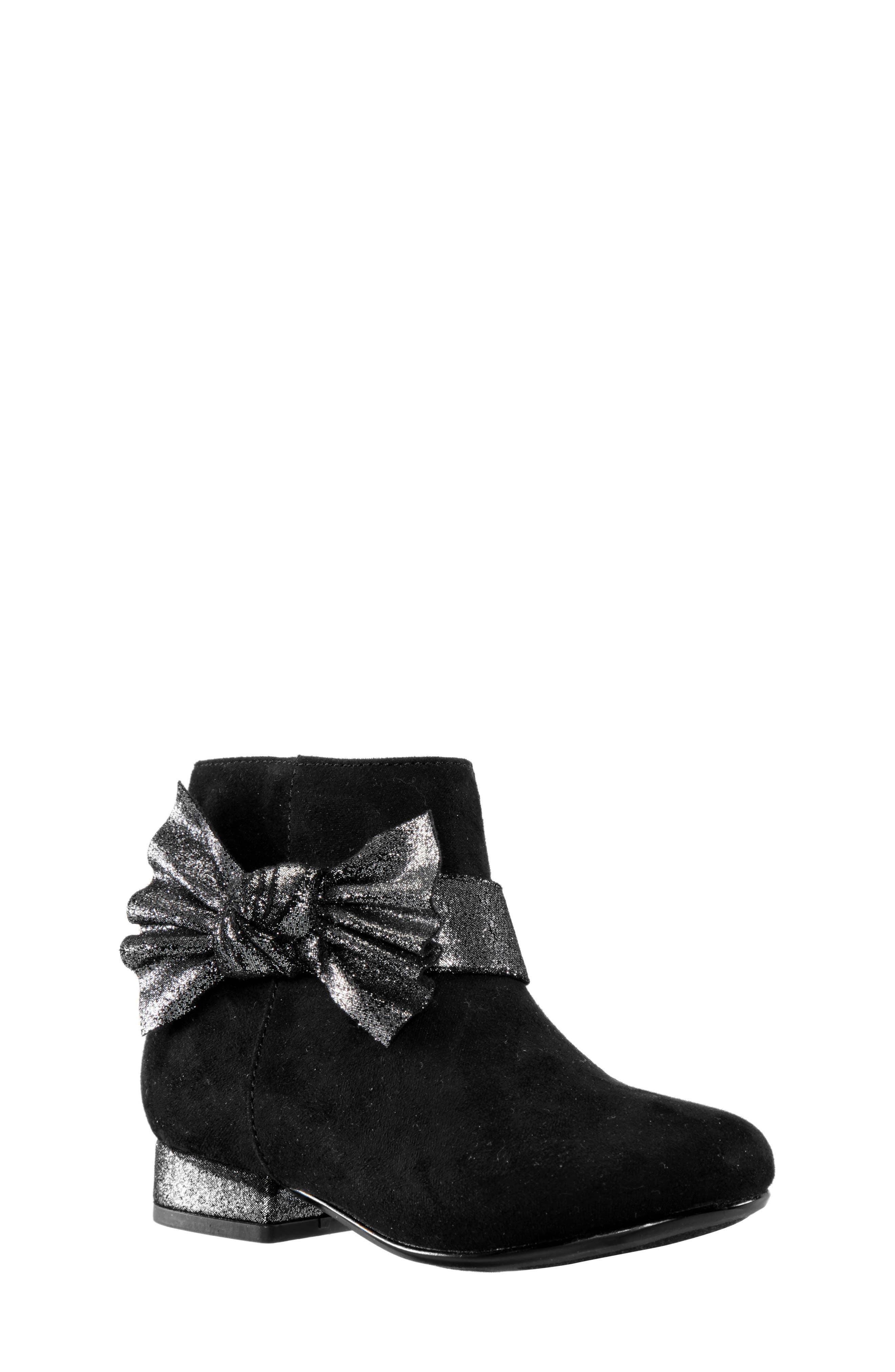 Toddler Girls Nina OrsulaT Metallic Bow Bootie Size 7 M  Black