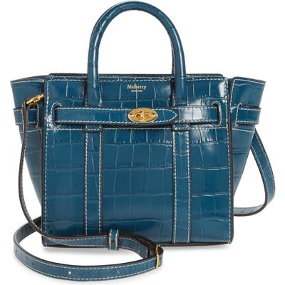 Mulberry Micro Bayswater Croc Embossed Leather Satchel - Blue
