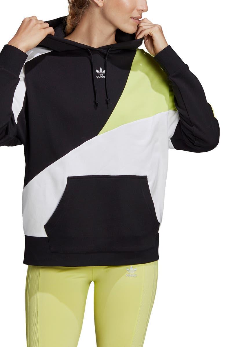 ADIDAS ORIGINALS OG Colorblock Hoodie, Main, color, BLACK/ REFLECT SILVER/ WHITE