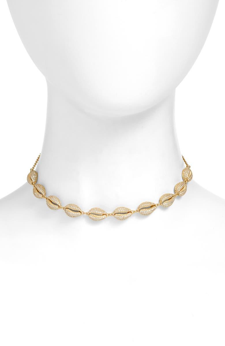ADINA'S JEWELS Adina's Pavé Shell Choker Necklace, Main, color, GOLD