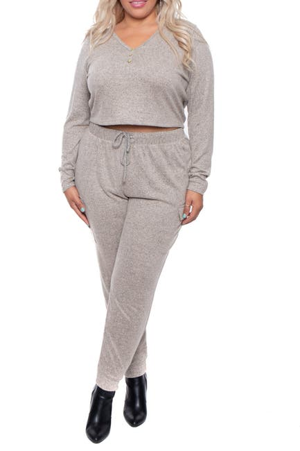 Image of Curvy Sense Button Front Crop Top & Jogger 2-Piece Set