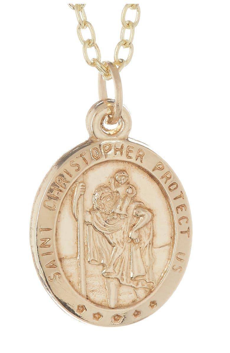 BEST SILVER 14K Yellow Gold Saint Christopher Pendant Necklace, Main, color, GOLD