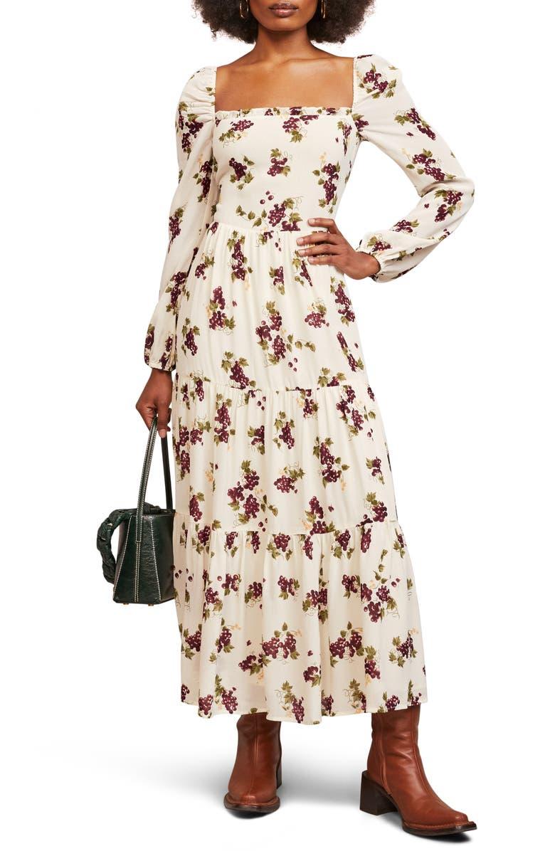 REFORMATION Kellie Long Sleeve Dress, Main, color, GRAPEVINE
