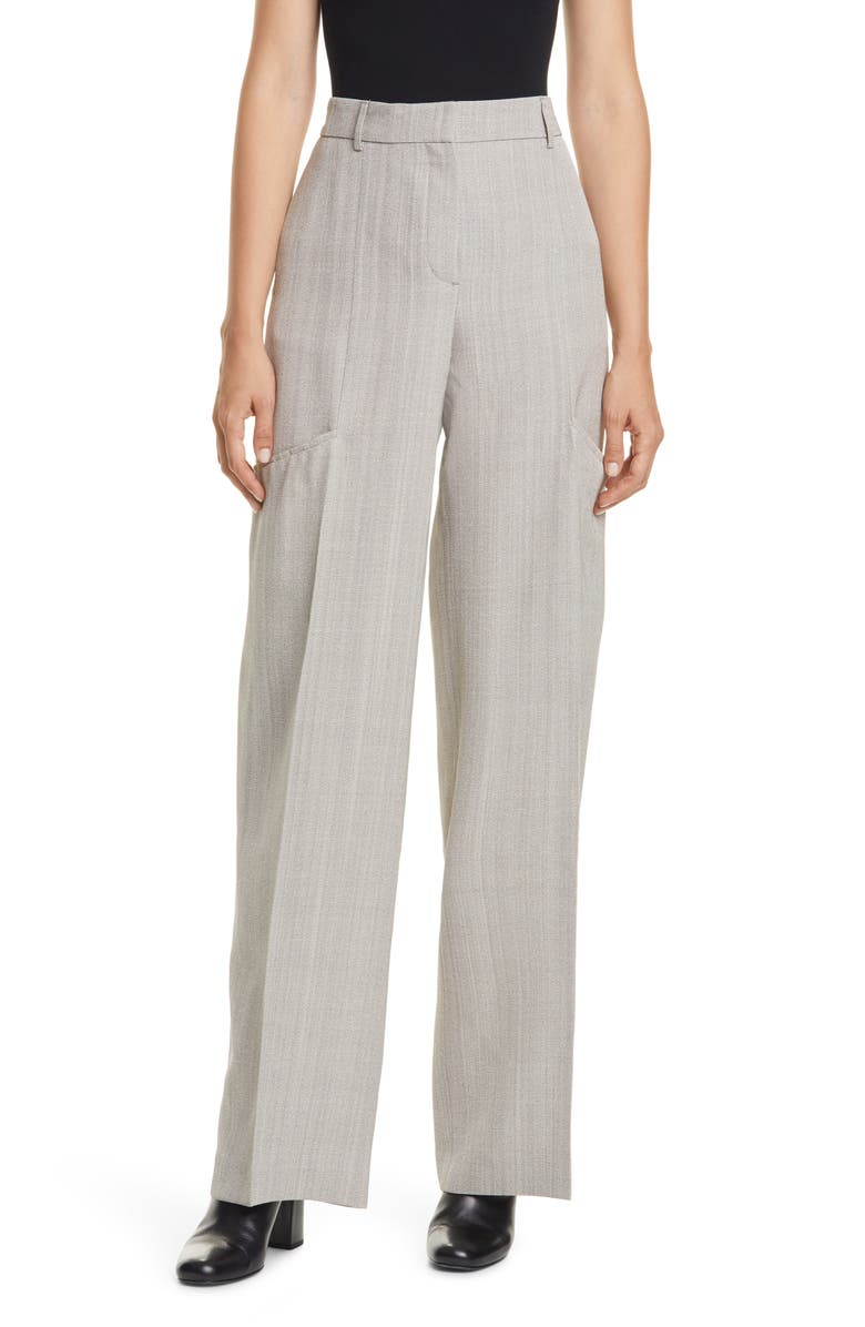 JACQUEMUS High Waist Wide Leg Trousers, Main, color, GREY CHINE