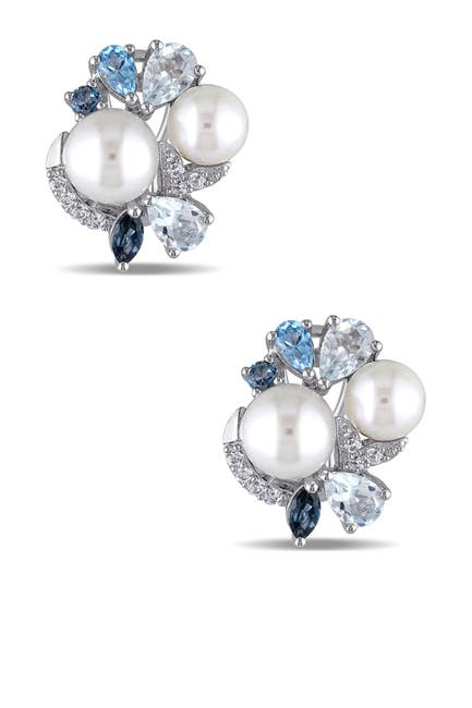 Image of Delmar Sterling Silver Created White Sapphire, Blue Topaz, & 6.5-8mm Freshwater Pearl Earrings