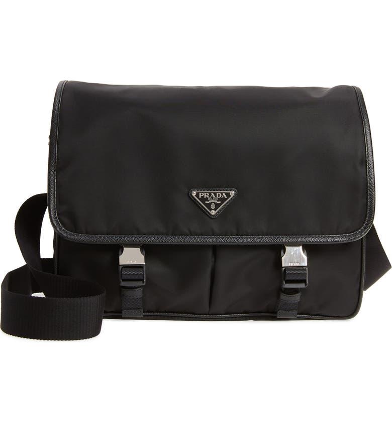 PRADA Nylon Messenger Bag, Main, color, BLACK