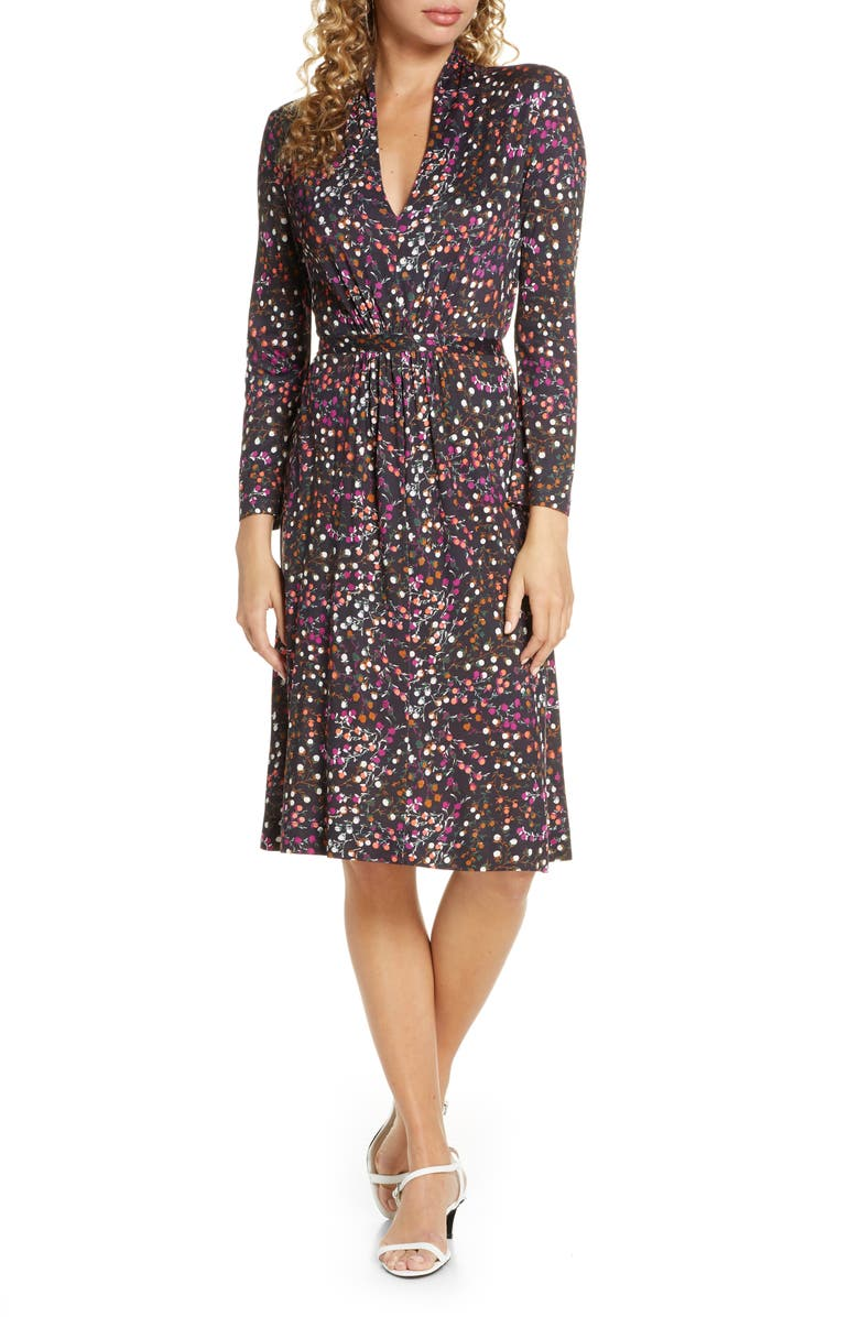 FRENCH CONNECTION Frances Meadow Jersey Long Sleeve Dress, Main, color, BLACK MULTI