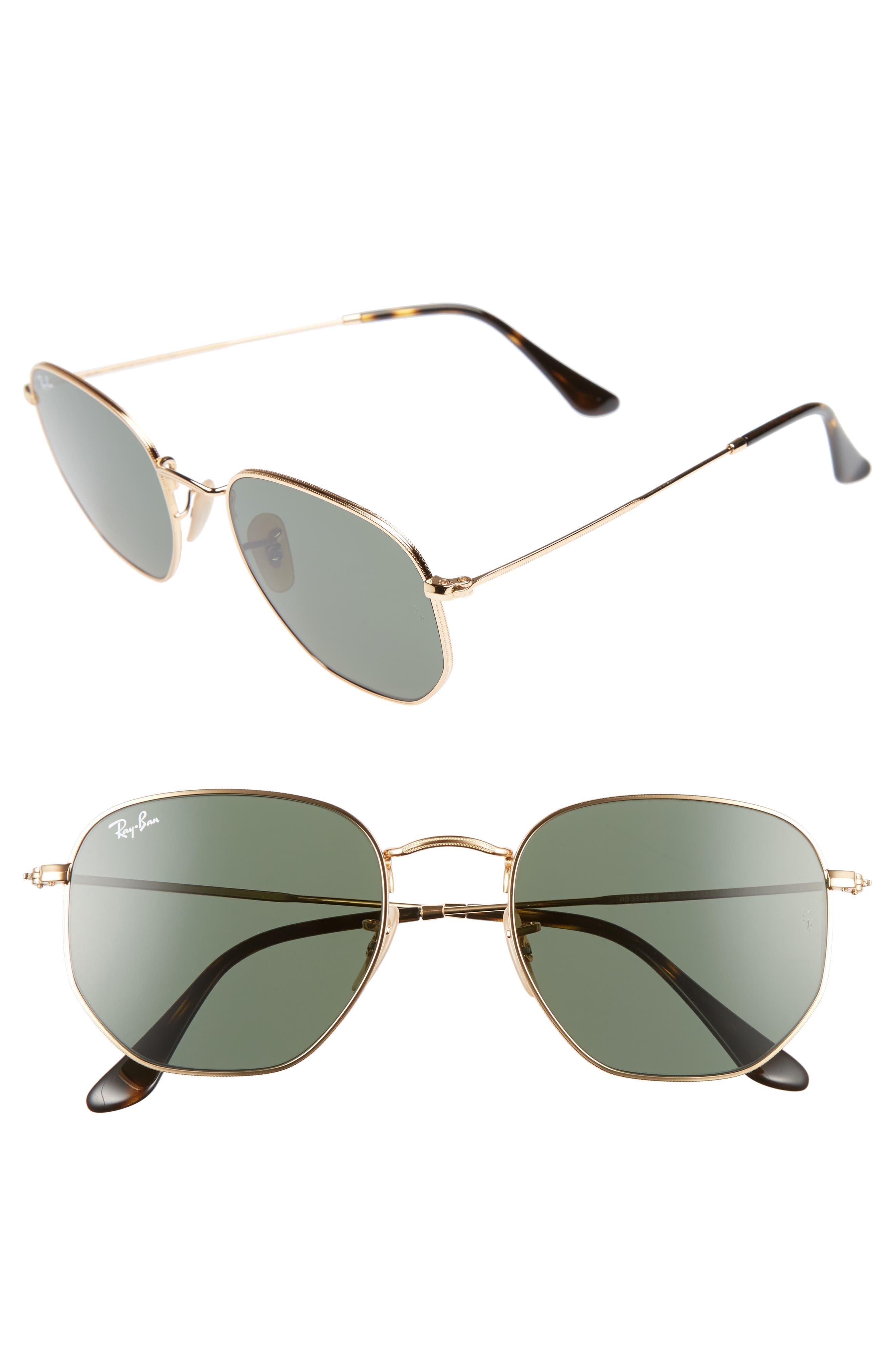 ,                             54mm Aviator Sunglasses,                             Main thumbnail 1, color,                             GOLD/ GREEN