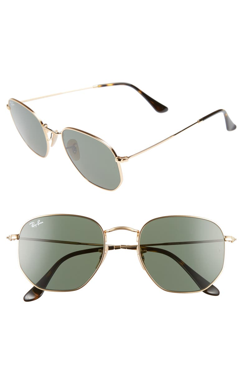 RAY-BAN 54mm Aviator Sunglasses, Main, color, GOLD/ GREEN