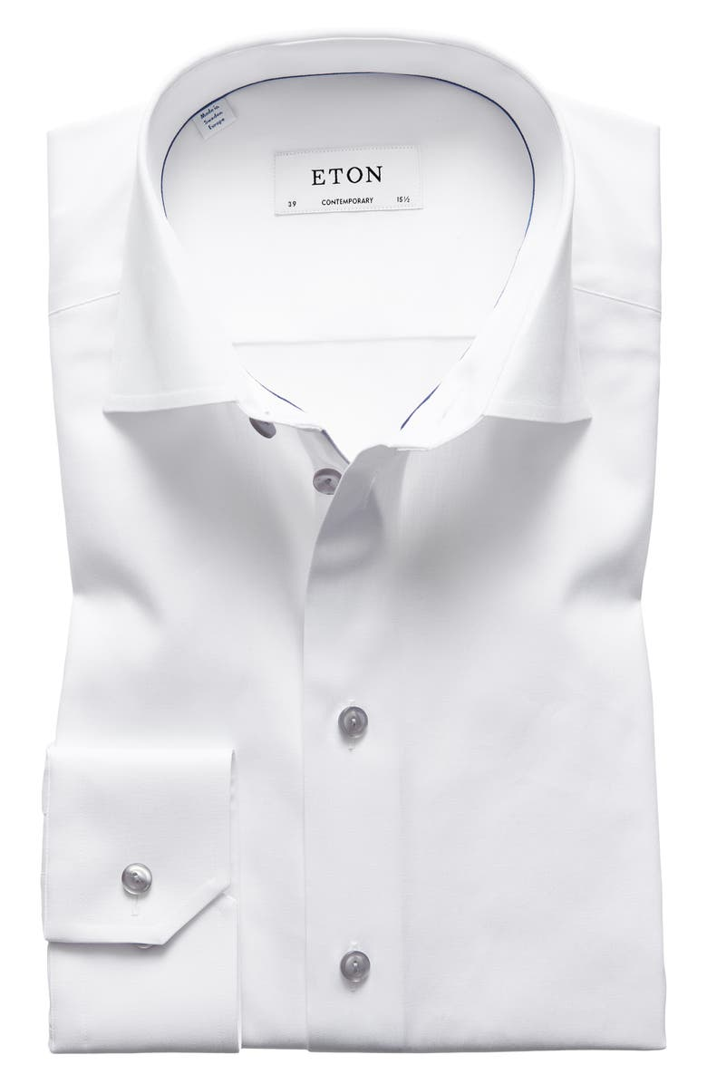 ETON Contemporary Fit Twill Dress Shirt, Main, color, WHITE/ GREY