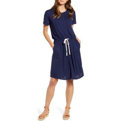 Petite Caslon Cinched Waist T-Shirt Dress, Blue