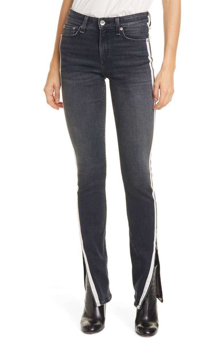 RAG & BONE Cate Side Stripe Split Hem Skinny Jeans, Main, color, CLEAN GRAFTON