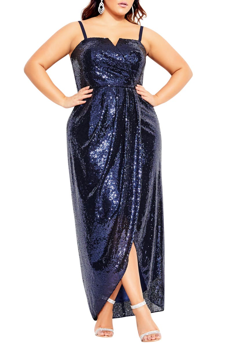 CITY CHIC Siren Sequin Convertible Strapless Gown, Main, color, NAVY