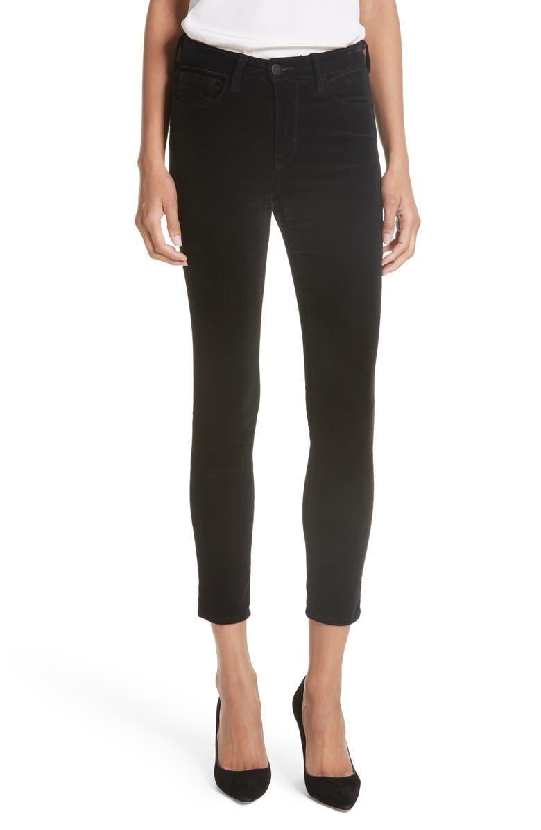 L'AGENCE Margot Velvet Crop Skinny Jeans, Main, color, 002