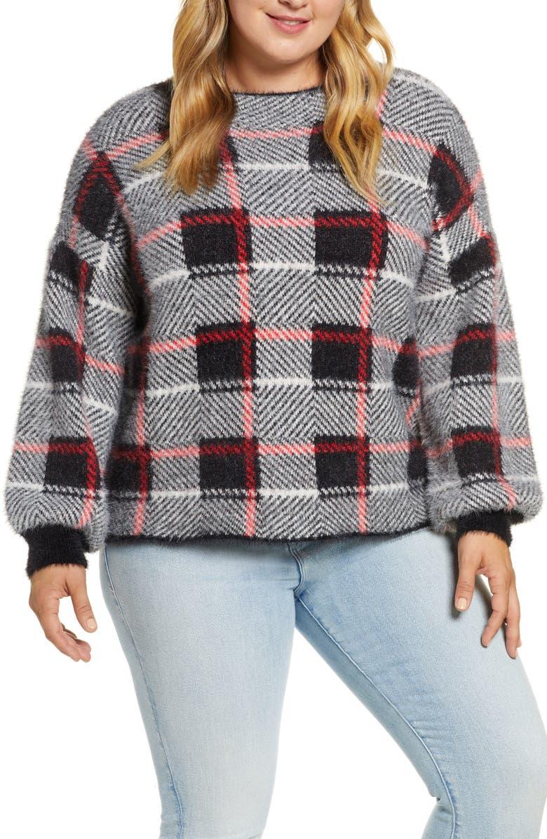 SINGLE THREAD Plaid Sweater, Main, color, 055