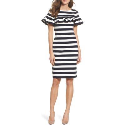 Eliza J Stripe Ruffle Sheath Dress
